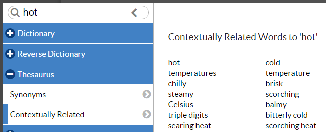 Contextual Thesaurus Report