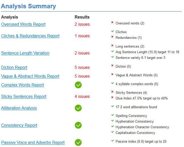 Summary analysis screen