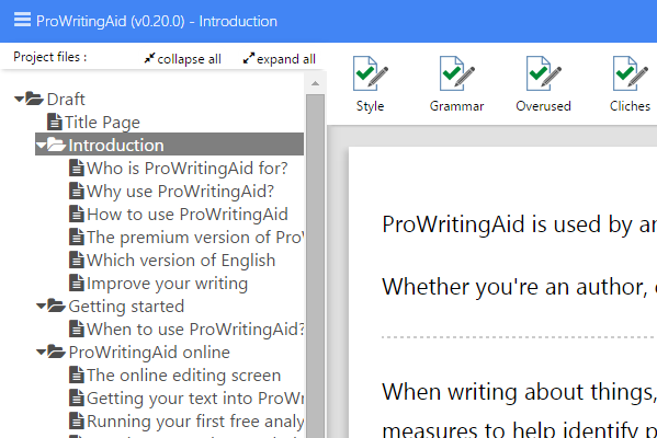 ProWritingAid with a Scrivener project open